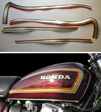 Cb tank decor stripes honda cb 750 k7 for red for Decoration f2